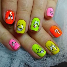 Fall Nail Designs - My Cool Nail Designs Nail Art Designs Videos, Best Nail Art Designs, Fall Nail Designs, Cute Nail Art, Nail Art Diy, Easy Nail Art, Rave Nails, Neon Nails, Emoji Nails
