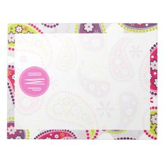 Paisley & Pink Monogram Memo Pad by Jill's Paperie