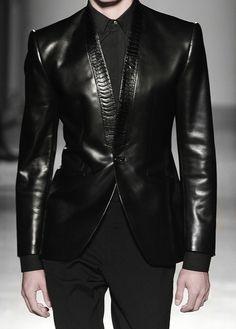 Black Snakeskin trim leather jacket