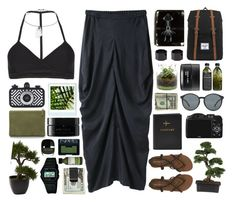 """""""Jungle Lounge"""" by chelseapetrillo ❤ liked on Polyvore featuring arbÅ«, Zero + Maria Cornejo, Billabong, AllSaints, Topshop, Nearly Natural, AERIN, The Row, Charlotte Russe and Herschel Supply Co."""