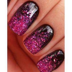Black base, glitter gradient, glitter tips, pink,
