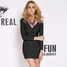Women Tunic Dress Business V Collar Stretch Mini OL Bodycon Evening Nice S0BZ