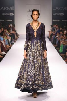Dark blue and gold anarkali by Jade and Monica Karishma at Lakme Fashion Week Winter 2014