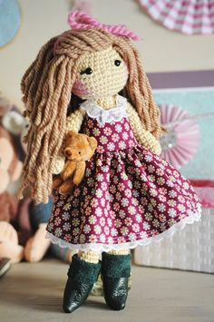 15 Crochet doll with light brown curly hair. by LinaMarieDolls ♡