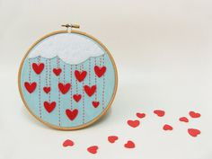 Embroidery hoop wall art  Cloudy rain of hearts  Made by buligaia, $30.00