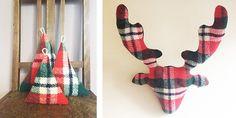 Reindeer from vintage wool plaid - DIY tutorial