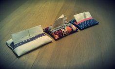 Petites pochettes : lin écru, à pois et liberty