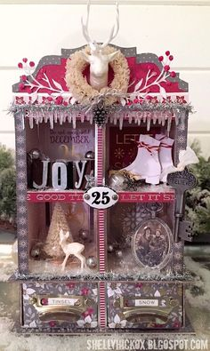 Shelly is amazing! Look at this beautiful curio cabinet she put together using the Cranberry Christmas stack (now available at @michaels) and several other goodies! Thanks for sharing @stamptramp!