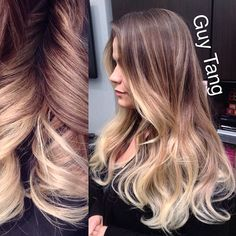 Guy Tang - Don't you just love this high contrast balayage ombre? #ombre #ombrehair #californianas #balayage