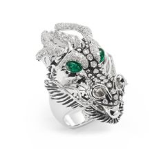 Dragons-Limited Edition ring. White gold ring with diamonds, emeralds and enamel - Roberto Coin