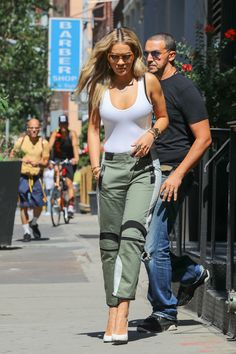 Rita Ora Tank Top - Rita Ora showed off her flawless figure in a tight white tank top while out and about.