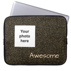Custom photo and text dark gold faux glitter laptop sleeve - glitter gifts personalize gift ideas unique
