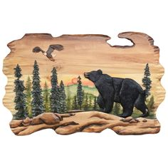 """A Black Forest Décor Exclusive - This handcrafted 3-D wood wall art featuring a bear and eagle in a sunset scene gives your living room a sense of the great outdoors. 36""""W x 24""""H Black Forest Decor, Rustic Bedding, Happy Campers, Wood Wall Art, Wood Carving, The Great Outdoors, 3 D, Eagle, Scene"""