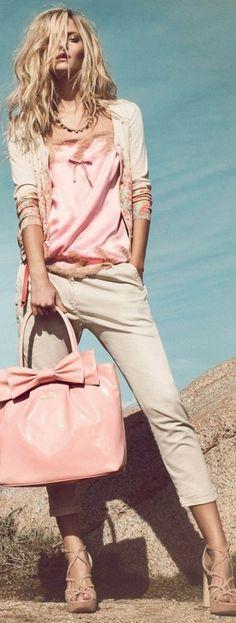 Pink silk and beige...love