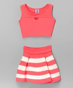 Neon Pink Cutout Crop Tank & Stripe Pleated Skirt - Girls by Maya Fashion #zulily #zulilyfinds