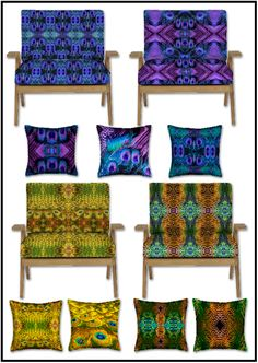 Funky Peacock designs for interiors and upholstery textiles, fashion fabric and more.