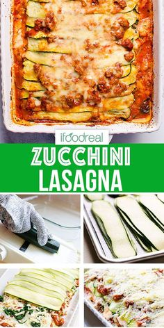 Zucchini Lasagna made low carb with layers of zucchini instead of pasta, flavorful turkey tomato sauce and gooey cheese. Classic comfort food experience at only 318 calories per huge slice. Diet Lunch Ideas, Lunch Recipes, Real Food Recipes, Cooking Recipes, Healthy Recipes, Healthy Food, Gf Recipes, Healthy Meals, Dinner Recipes