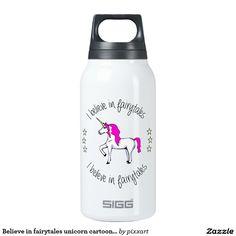 Believe in fairytales unicorn cartoon girls insulated water bottle