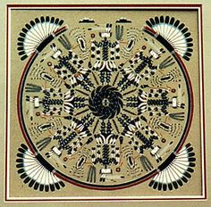 Navajo Sandpainting. The sand painting by the Navajo was used in healing rituals.  With the support of the shaman, the individual who needed healing would actually be right in the mandala/sandpainting.