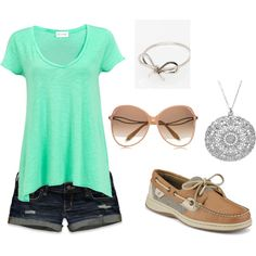 Mint green long transparent shirt, ripped dark-wash jean shorts, bug sunglasses, tan sperry shoes, silver circle design necklace + bow on the head. Great summer outfit.