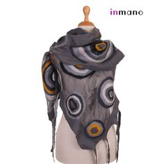 nuno felted scarf gray and soothe circles rainbow  silk by inmano, $113.00