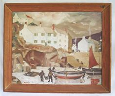 Folk Naive Vintage Painting Fishing Village Fisherman Boats Street Life Mario by divebackintime on Etsy https://www.etsy.com/listing/455118384/folk-naive-vintage-painting-fishing