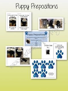 Practically Speeching: Puppy Prepositions! Pinned by SOS Inc. Resources. Follow all our boards at pinterest.com/sostherapy for therapy resources.