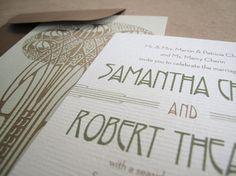 Art nouveau / Frank Lloyd Wright inspired wedding invitations