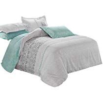 Wake In Cloud Gray Teal Comforter Set Queen 3 Piece Reversible