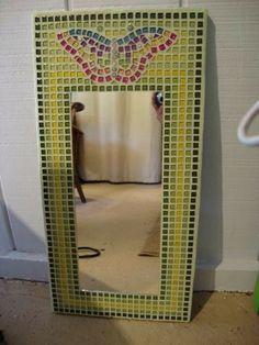Handmade Furniture - Mosaic Butterfly Mirror #vintagemaya #mosaic #handcraft #home decor #mosaic mirror #furniture