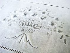Vintage Linen, White Linen Embroiderd Table Runner, Long Runner with White And Grey Floral Embroidery and Draw Work