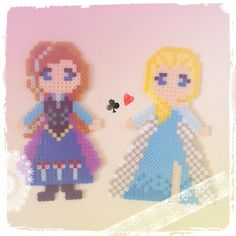 Frozen Anna and Elsa perler beads by one_land