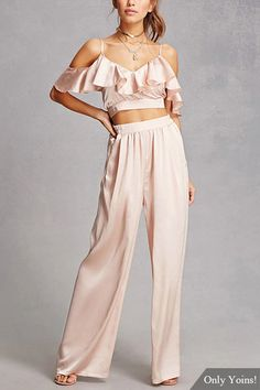 Beige Flouncy Details Crop Top Wide Leg Pants with Two Piece Outfits