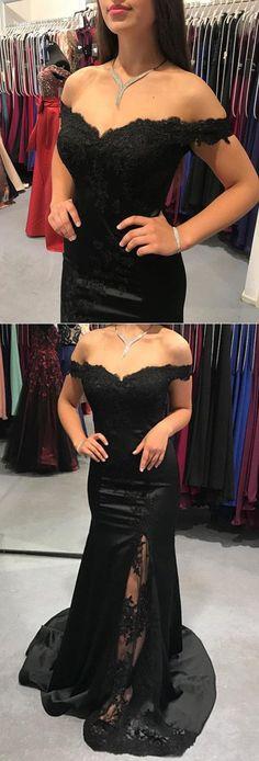 Long Black Satin V-neck Mermaid Evening Dresses Lace Appliques Bridesmaid Gowns P2005