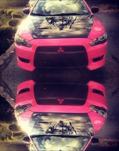 Pink mitsubishi lancer carbon fiber hood reflect pink car