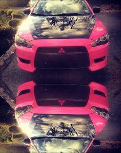 Pink mitsubishi lancer carbon fiber hood reflect pink car