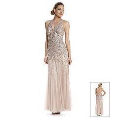 Nightway® Allover Beaded Blush Halter Dress
