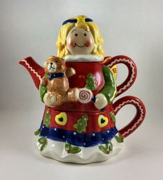 Angel Teapot and Cup set 3 piece stackable #ChristmasHoliday