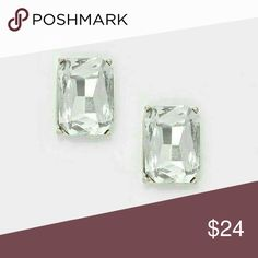 """High Class Sass [Newest Collection] Color : Rhodium Plated, Crystal Clear •Size : 0.4"""" W, 0.6"""" L •Post Back, Hypoallergenic •Emerald cut crystal rhinestone stud earrings   .Ask About Custom Bundles.   .Poshmark Rules Only. No Trades. .Does Not Model. .Additional Pics Available as Time Allows. goodchic  Jewelry Earrings"""