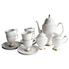 Gold Rim Coffee/Tea Set - Service For 6 ($135) ❤ liked on Polyvore featuring home, kitchen & dining, teapots, coffee & tea service, tea pot, porcelain teapot, tea-pot, white teapot and white porcelain teapot