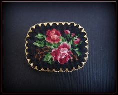 Vintage Petit Point Brooch -Cross Stitch Flowers in Gold Filigree Setting on Etsy, $18.00