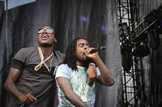 Meek Mill (left) and Wale (right) of Maybach Music Group perorm at Made in America on September 1, 2012. ( MICHAEL S. WIRTZ / Staff Photographer )