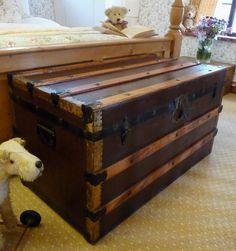Old VINTAGE STEAMER TRUNK Cabin Chest RAILWAY TRAVEL TRUNK  sold 175.00 I have one like this