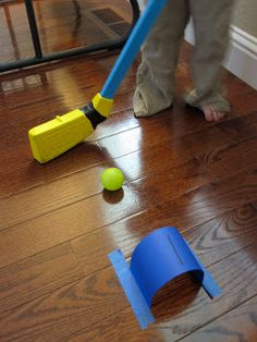"fun way to make indoor ""golfing"" more fun... make little tunnels to hit the ball through."