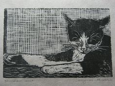 Kitty in the windowsill block print  Window seat by PressingNeeds, $18.00