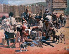 "John Buxton painting - Negotiations 36"" x 46"" oil"