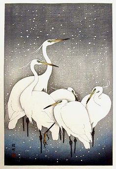 "Five Herons in Snow, 1927  by Ohara Koson (1877-1945): Japanese Painter Printmaker late 19th early 20th centuries; part of shin-hanga (""new prints"") movement. http://www.hanga.com/viewimage.cfm?ID=861"