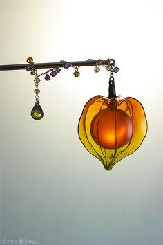 簪作家榮 2012鬼灯簪「小狐燈」 Japanese hair accessory - Chinese lantern plant Kanzashi- by…