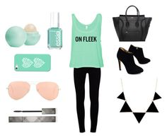 """""""Mint & Black"""" by tayloremilia13 ❤ liked on Polyvore featuring J Brand, Giuseppe Zanotti, Essie, Eos, Casetify, Ray-Ban and Burberry"""