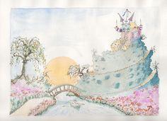 imaginary landscape, aquarel and ink on paper, By Madeleine Kuijper